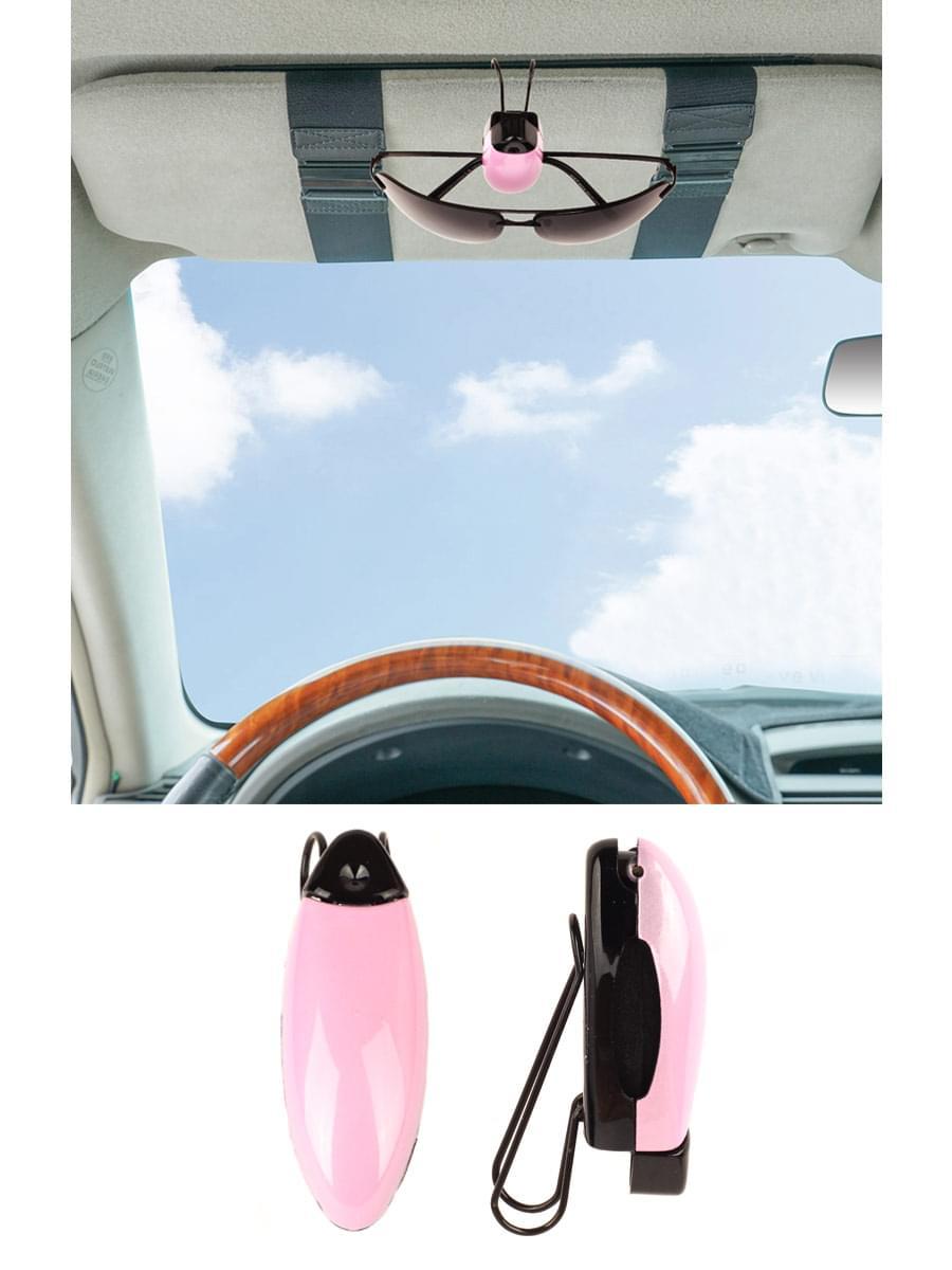Держатель зажим для очков автомобильный Розовый