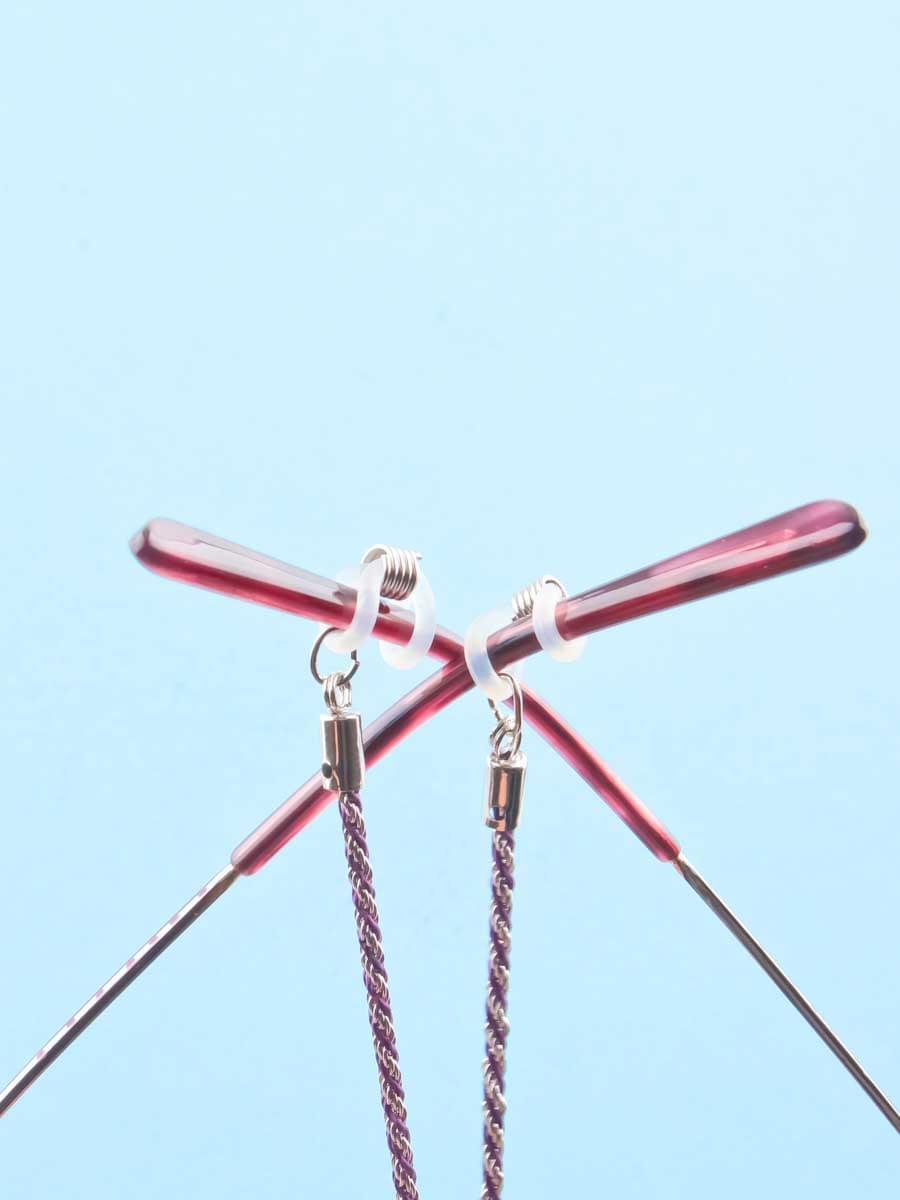 Цепочка для очков №32 серебристая-фиолетовая